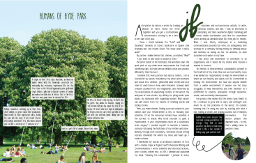 An attempt at a magazine spread by Jodelle Faye De Jesus titled Humans of Hyde Park